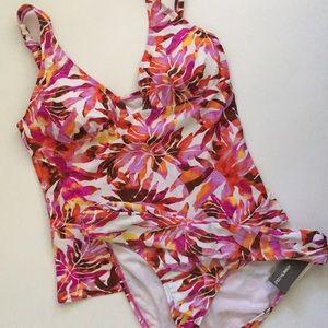 Kenneth Cole Tropical Print Tankini Swimsuit Sz L